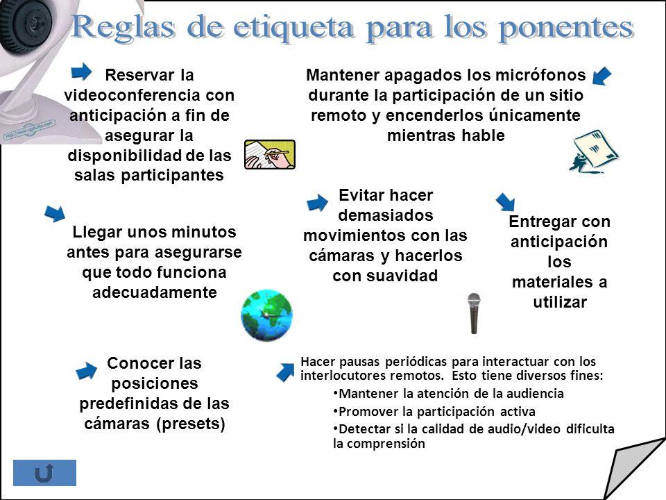 Reglas de etiqueta para los ponentes