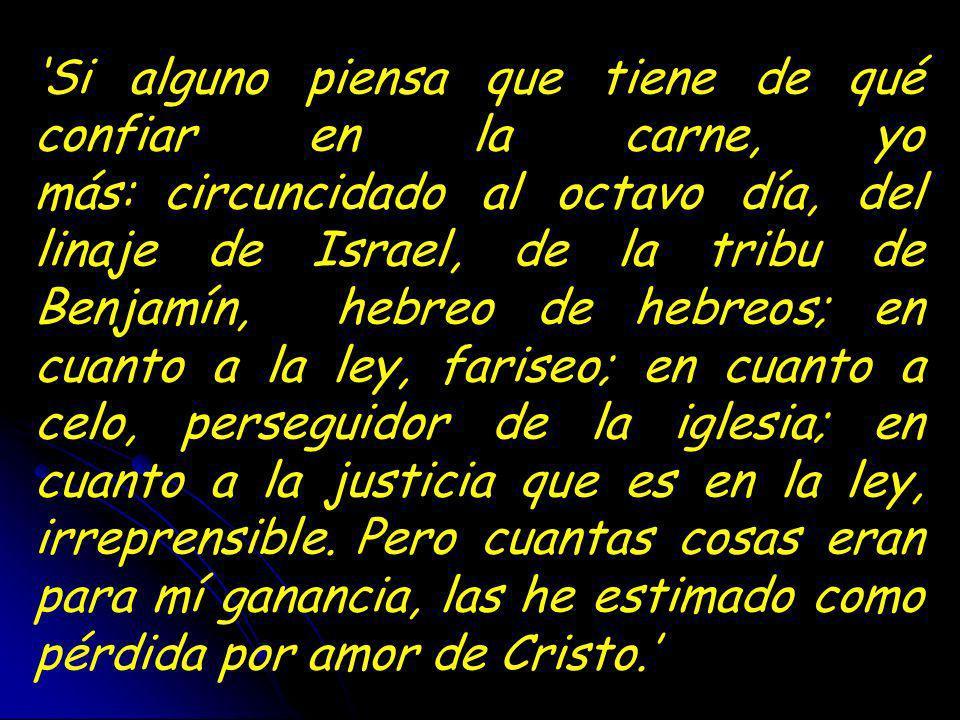 'Si alguno piensa que tiene de qué confiar en la carne, yo más: circuncidado al octavo día, del linaje de Israel, de la tribu de Benjamín, hebreo de hebreos; en cuanto a la ley, fariseo; en cuanto a celo, perseguidor de la iglesia; en cuanto a la justicia que es en la ley, irreprensible. Pero cuantas cosas eran para mí ganancia, las he estimado como pérdida por amor de Cristo.'