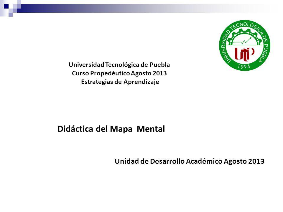 Didáctica del Mapa Mental Unidad de Desarrollo Académico Agosto 2013