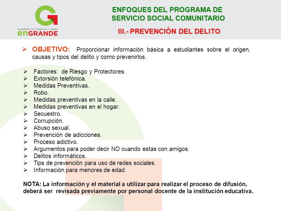 ENFOQUES DEL PROGRAMA DE SERVICIO SOCIAL COMUNITARIO