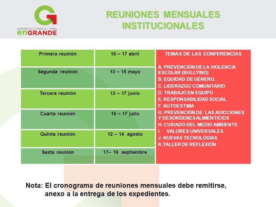 REUNIONES MENSUALES INSTITUCIONALES TEMAS DE LAS CONFERENCIAS