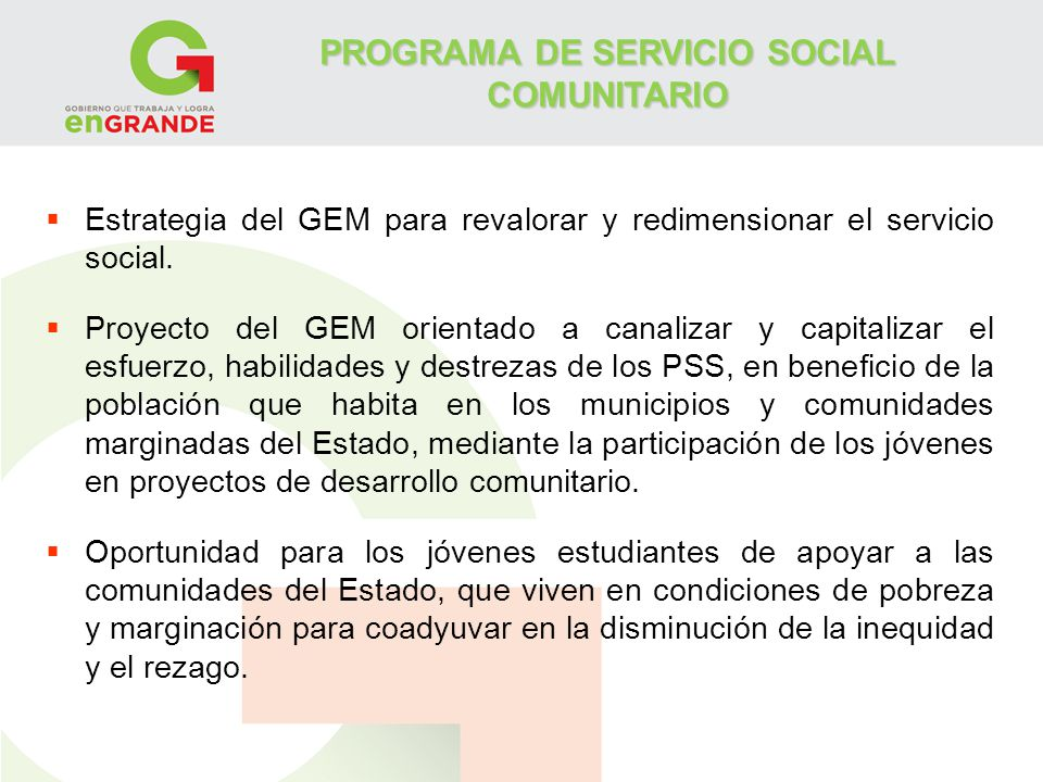 PROGRAMA DE SERVICIO SOCIAL COMUNITARIO