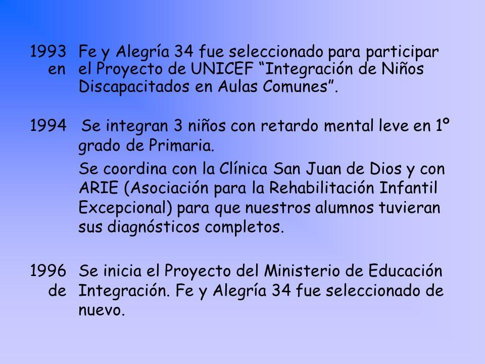 1993. Fe y Alegría 34 fue seleccionado para participar en