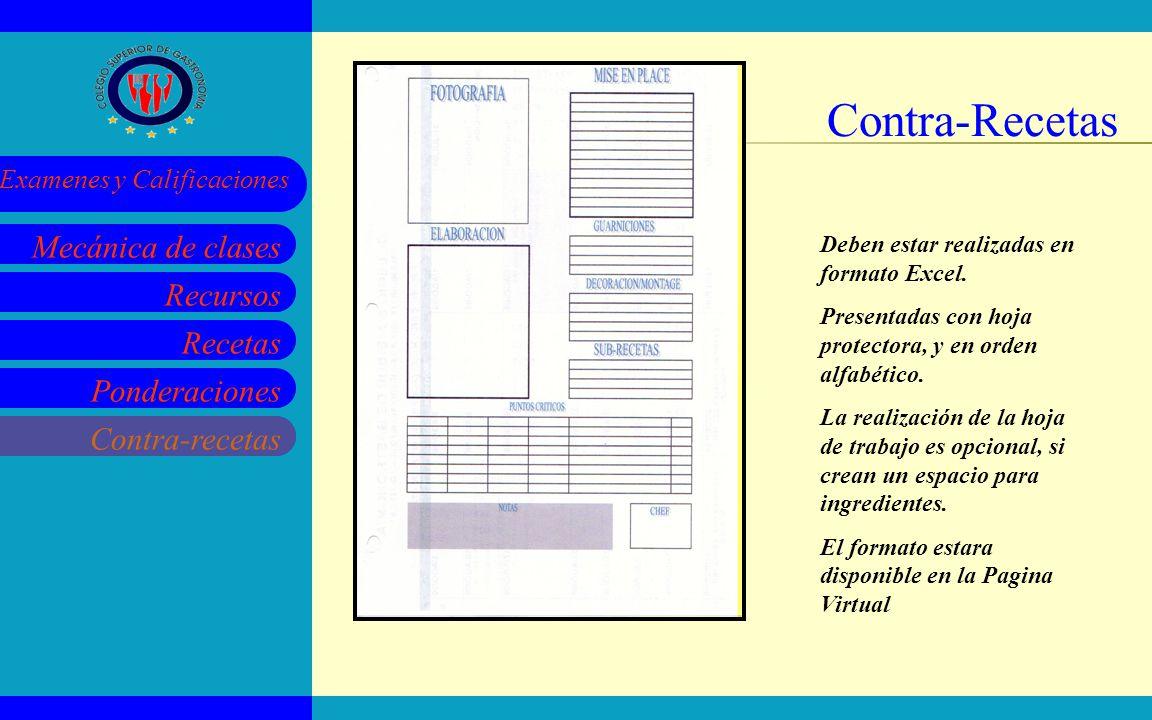 Contra-Recetas Deben estar realizadas en formato Excel.