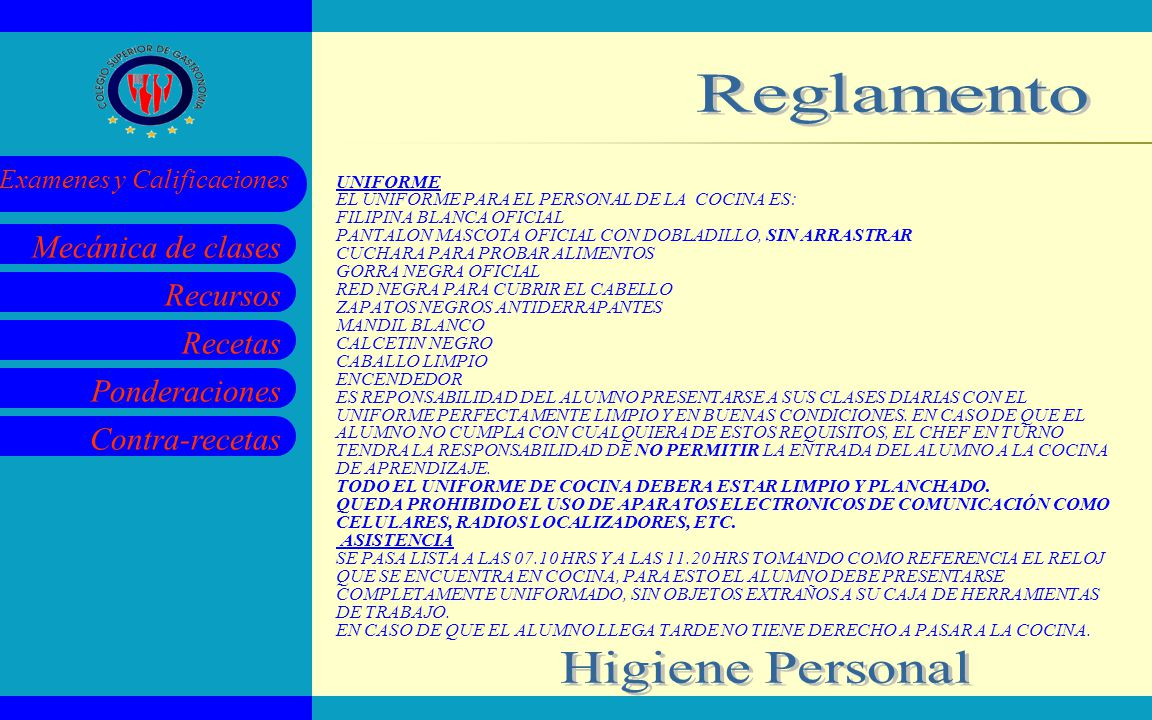 Reglamento Higiene Personal