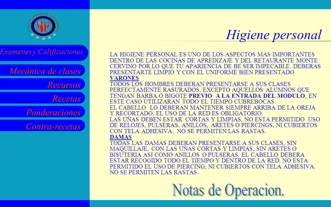 Higiene personal Notas de Operacion.