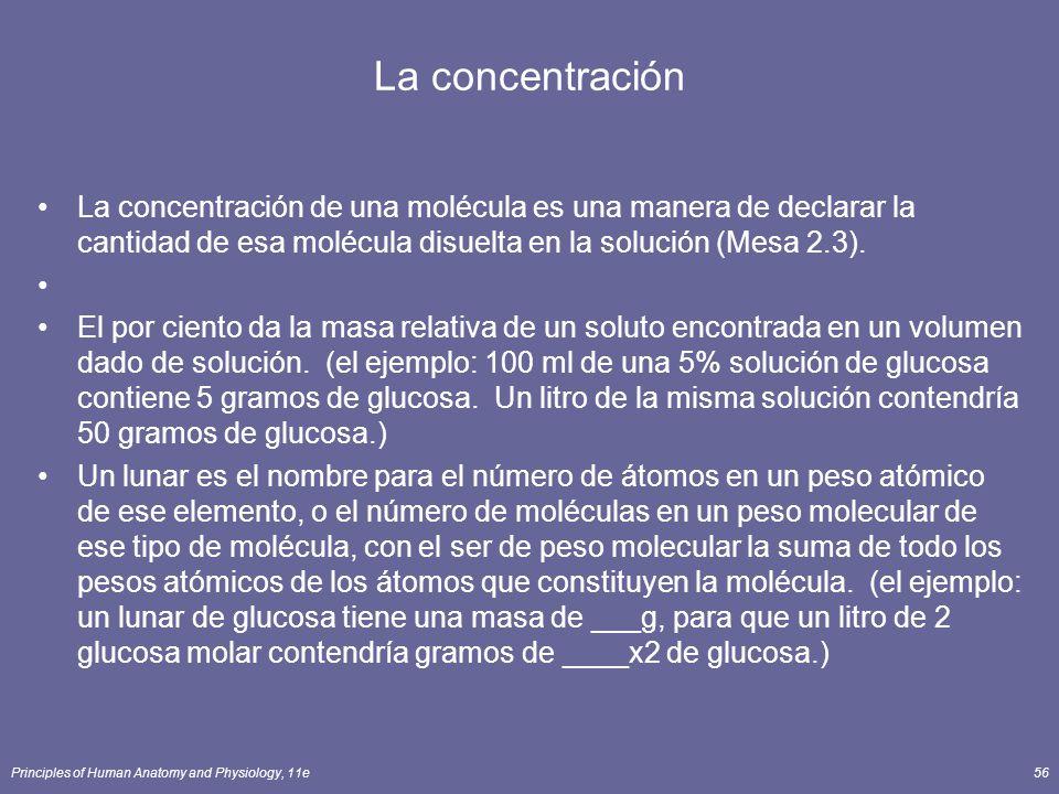 La concentración La concentración de una molécula es una manera de declarar la cantidad de esa molécula disuelta en la solución (Mesa 2.3).