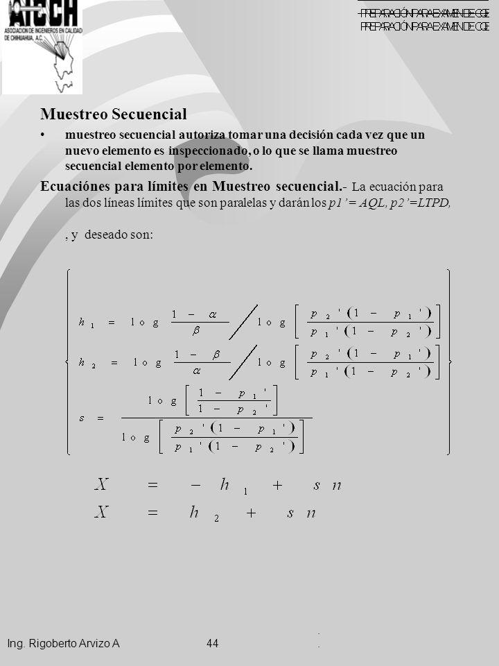 . . Ing. Rigoberto Arvizo A 44. Muestreo Secuencial.