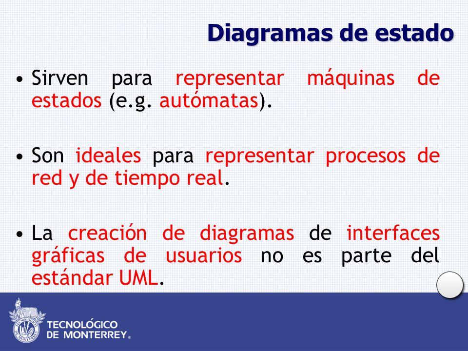 Diagramas de estado Sirven para representar máquinas de estados (e.g. autómatas). Son ideales para representar procesos de red y de tiempo real.