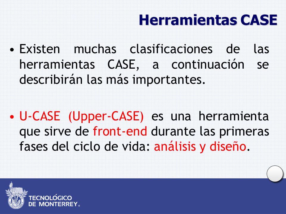 Herramientas CASE Existen muchas clasificaciones de las herramientas CASE, a continuación se describirán las más importantes.