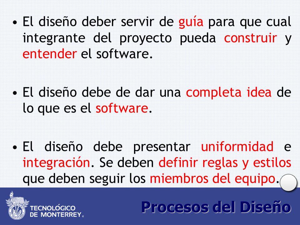 El diseño deber servir de guía para que cual integrante del proyecto pueda construir y entender el software.