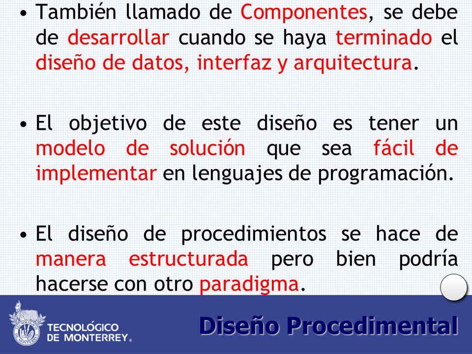 También llamado de Componentes, se debe de desarrollar cuando se haya terminado el diseño de datos, interfaz y arquitectura.