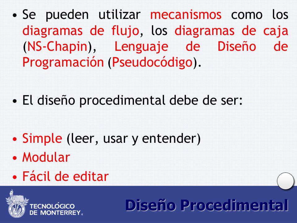 Se pueden utilizar mecanismos como los diagramas de flujo, los diagramas de caja (NS-Chapin), Lenguaje de Diseño de Programación (Pseudocódigo).