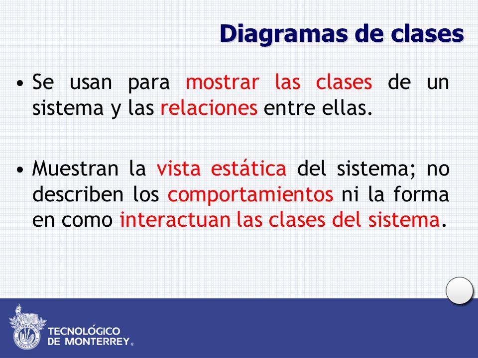 Diagramas de clases Se usan para mostrar las clases de un sistema y las relaciones entre ellas.