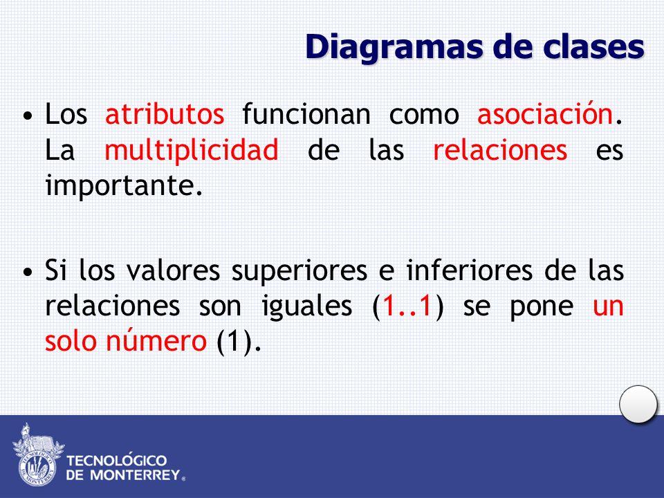 Diagramas de clases Los atributos funcionan como asociación. La multiplicidad de las relaciones es importante.