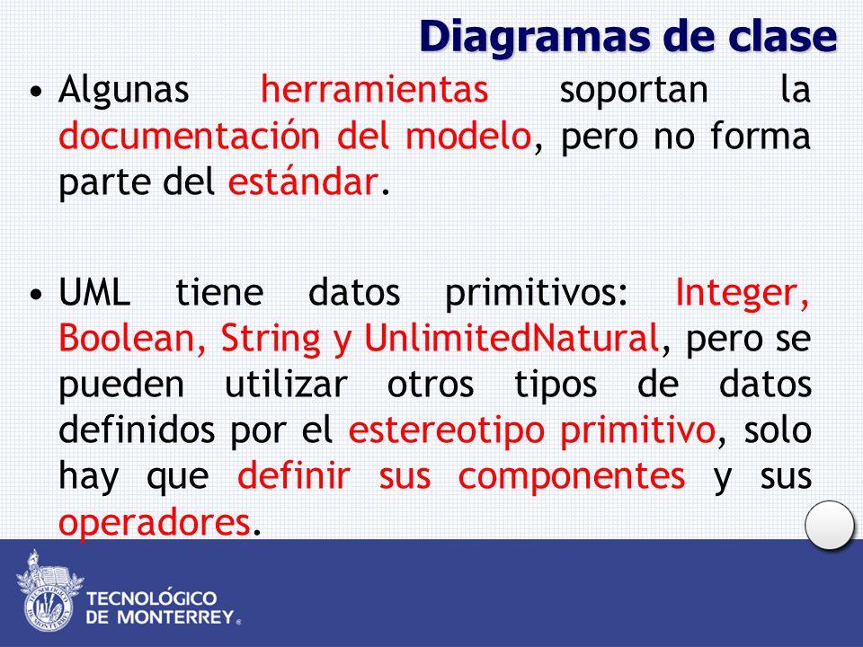 Diagramas de clase Algunas herramientas soportan la documentación del modelo, pero no forma parte del estándar.