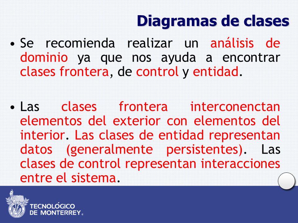 Diagramas de clases Se recomienda realizar un análisis de dominio ya que nos ayuda a encontrar clases frontera, de control y entidad.