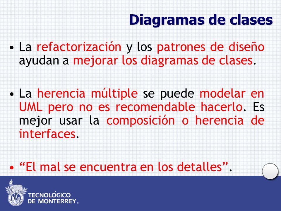 Diagramas de clases La refactorización y los patrones de diseño ayudan a mejorar los diagramas de clases.