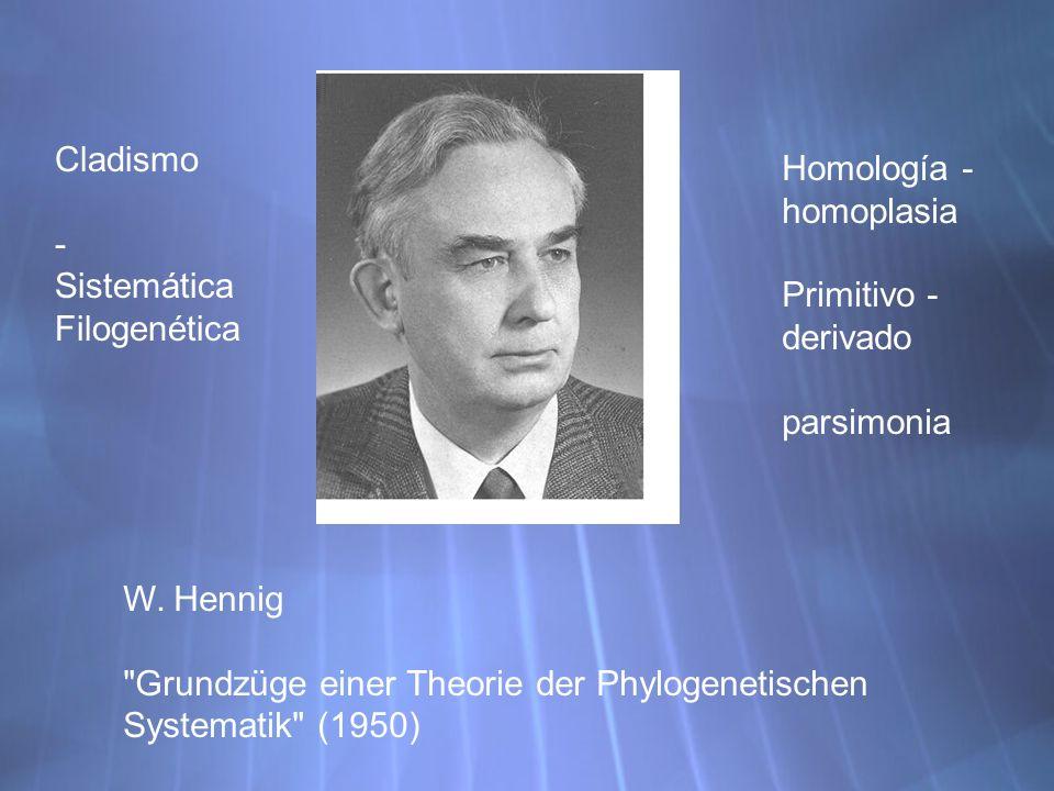 Cladismo - Sistemática Filogenética. Homología -homoplasia. Primitivo - derivado. parsimonia. W. Hennig.