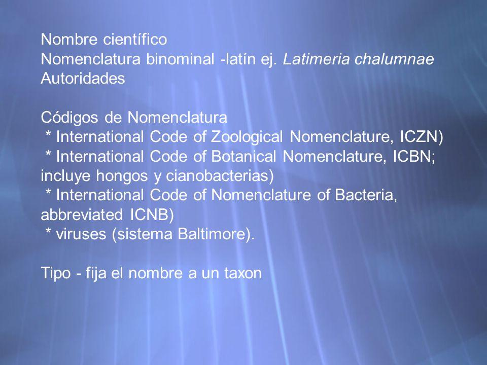 Nombre científico Nomenclatura binominal -latín ej. Latimeria chalumnae. Autoridades. Códigos de Nomenclatura.