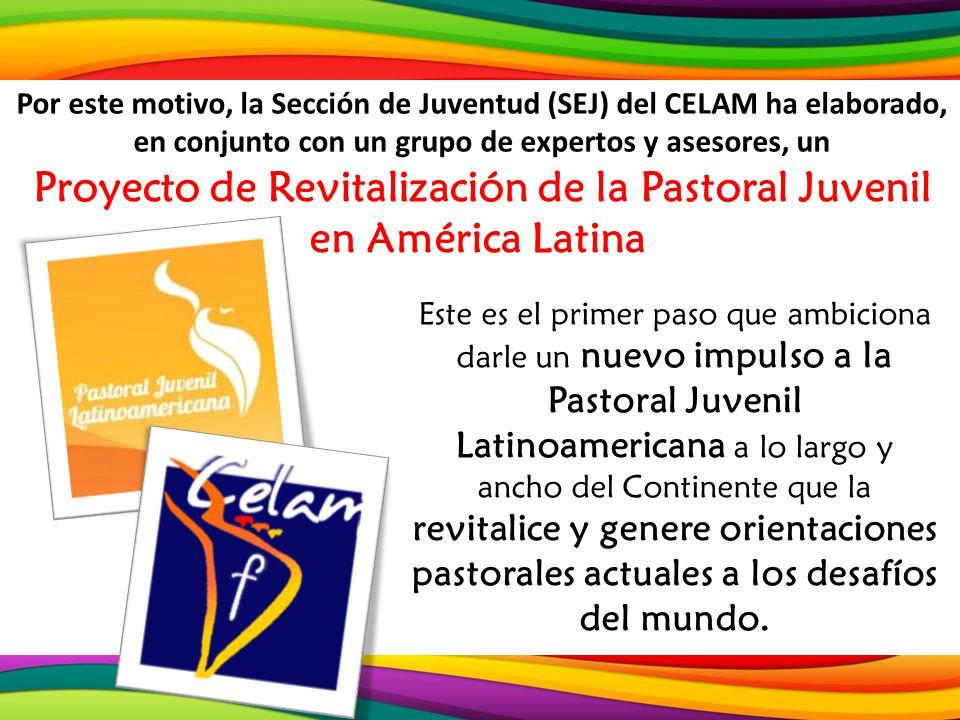 Por este motivo, la Sección de Juventud (SEJ) del CELAM ha elaborado, en conjunto con un grupo de expertos y asesores, un Proyecto de Revitalización de la Pastoral Juvenil en América Latina.
