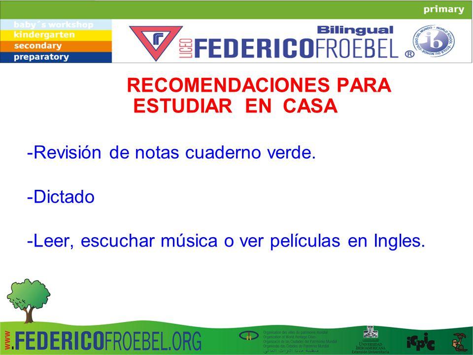 RECOMENDACIONES PARA ESTUDIAR EN CASA