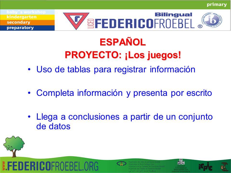 ESPAÑOL PROYECTO: ¡Los juegos!