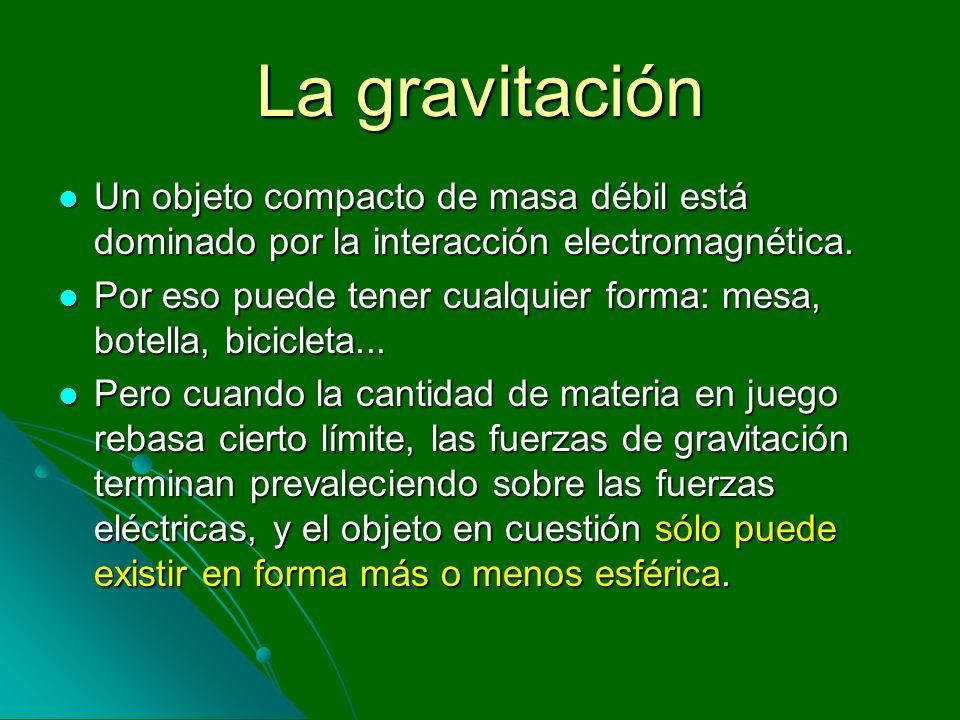 La gravitaciónUn objeto compacto de masa débil está dominado por la interacción electromagnética.