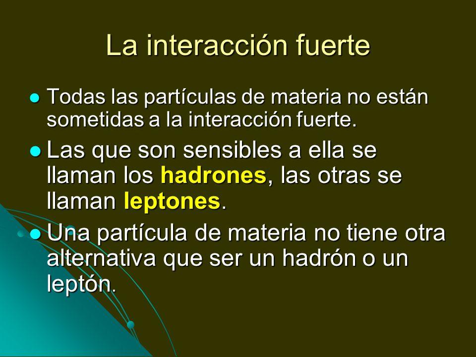 La interacción fuerteTodas las partículas de materia no están sometidas a la interacción fuerte.