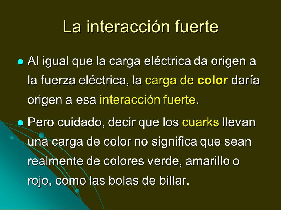 La interacción fuerte Al igual que la carga eléctrica da origen a la fuerza eléctrica, la carga de color daría origen a esa interacción fuerte.