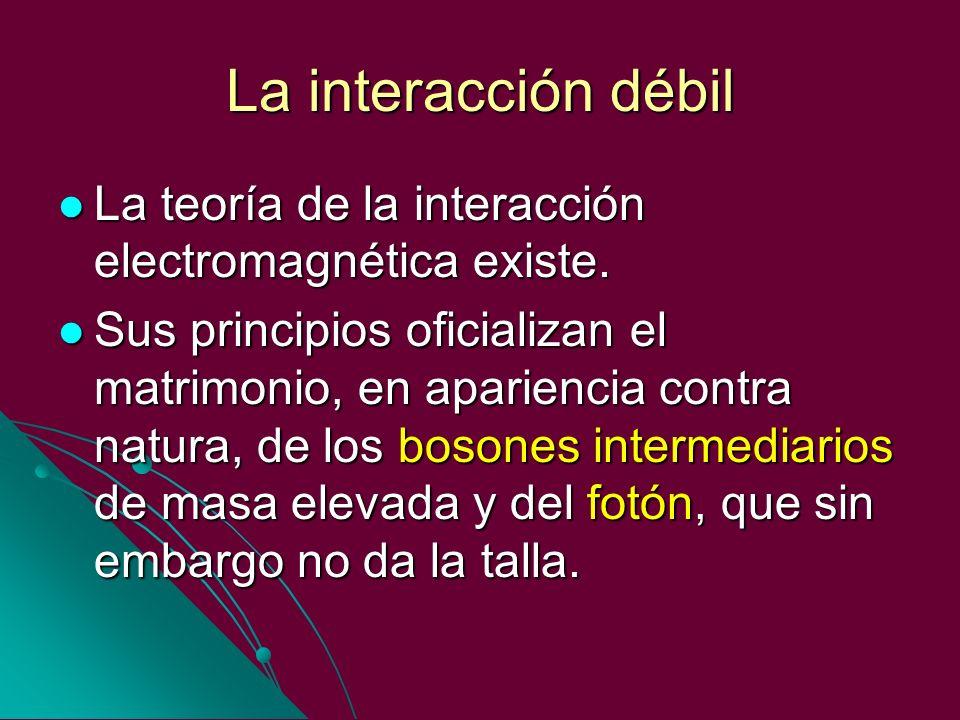 La interacción débil La teoría de la interacción electromagnética existe.