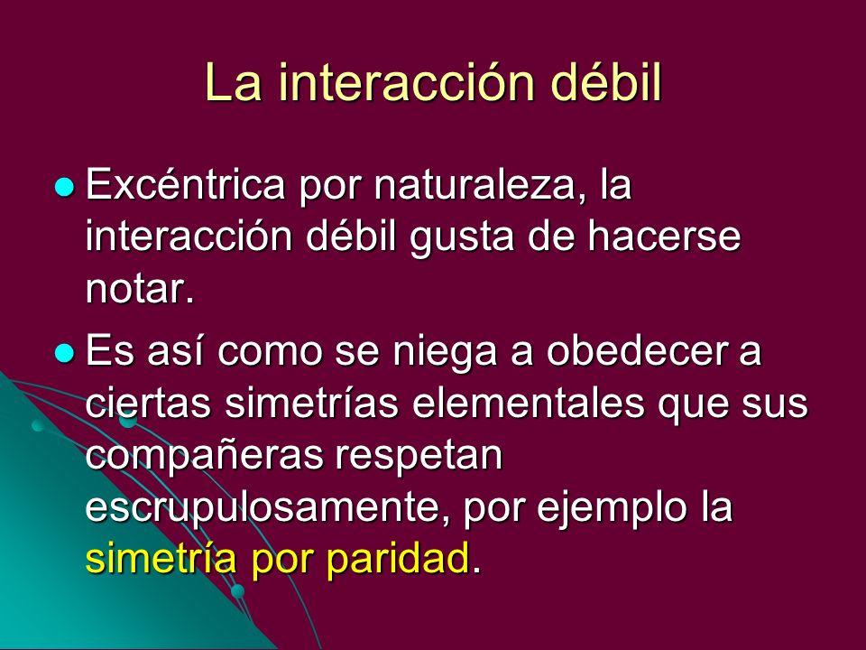 La interacción débil Excéntrica por naturaleza, la interacción débil gusta de hacerse notar.