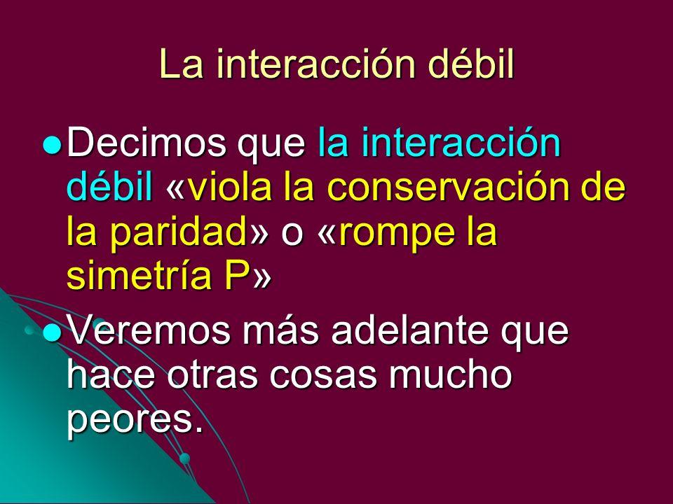 La interacción débil Decimos que la interacción débil «viola la conservación de la paridad» o «rompe la simetría P»