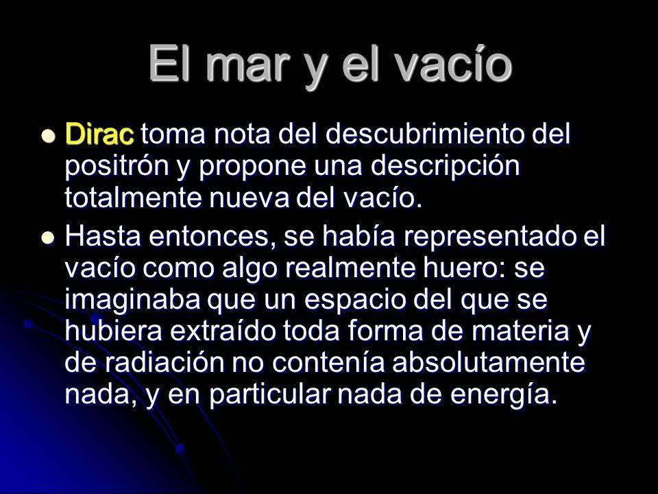 El mar y el vacío Dirac toma nota del descubrimiento del positrón y propone una descripción totalmente nueva del vacío.