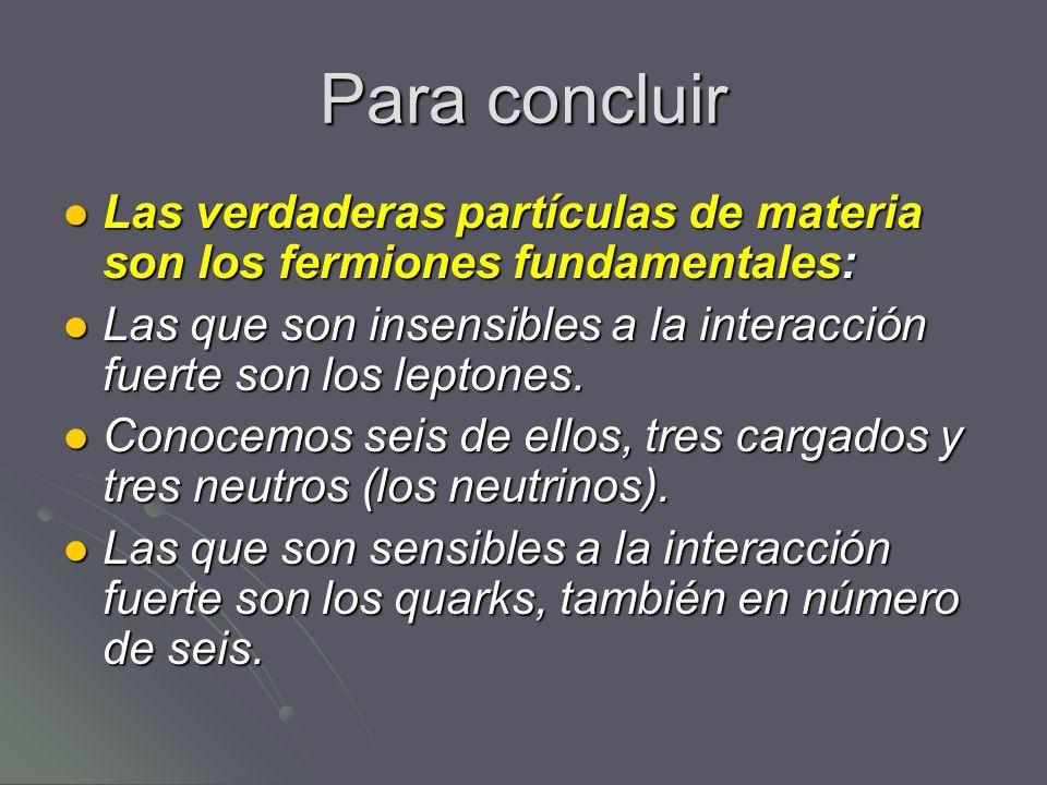 Para concluirLas verdaderas partículas de materia son los fermiones fundamentales: Las que son insensibles a la interacción fuerte son los leptones.