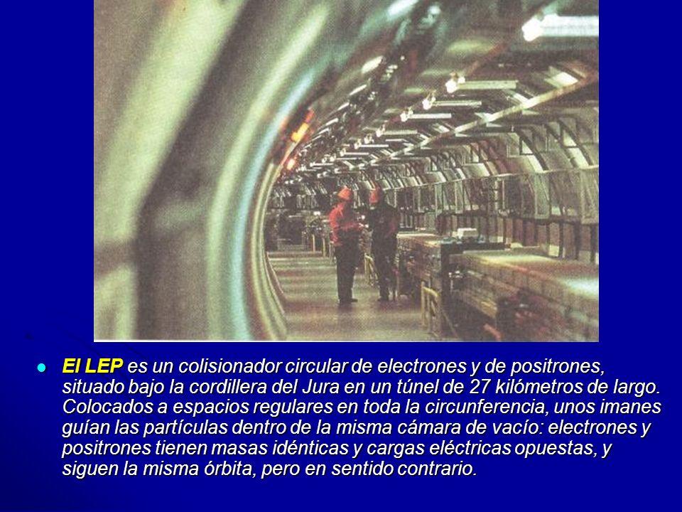 El LEP es un colisionador circular de electrones y de positrones, situado bajo la cordillera del Jura en un túnel de 27 kilómetros de largo.