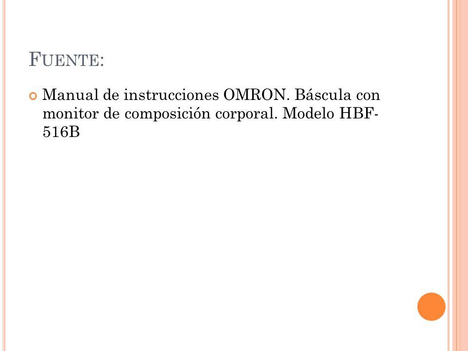 Fuente: Manual de instrucciones OMRON. Báscula con monitor de composición corporal.