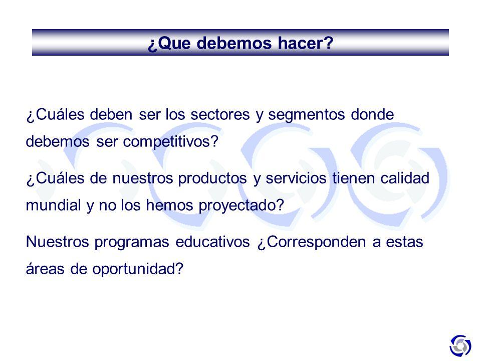 ¿Que debemos hacer ¿Cuáles deben ser los sectores y segmentos donde debemos ser competitivos