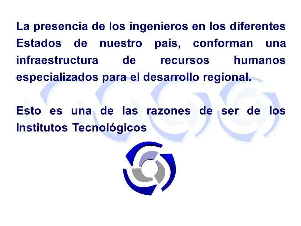 La presencia de los ingenieros en los diferentes Estados de nuestro país, conforman una infraestructura de recursos humanos especializados para el desarrollo regional.