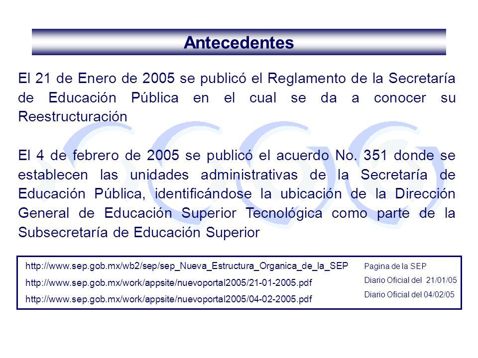 Antecedentes El 21 de Enero de 2005 se publicó el Reglamento de la Secretaría de Educación Pública en el cual se da a conocer su Reestructuración.