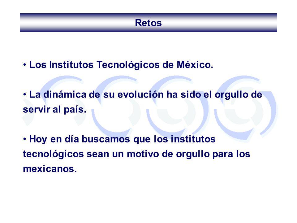 Retos Los Institutos Tecnológicos de México. La dinámica de su evolución ha sido el orgullo de servir al país.