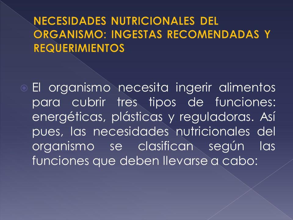 NECESIDADES NUTRICIONALES DEL ORGANISMO: INGESTAS RECOMENDADAS Y REQUERIMIENTOS