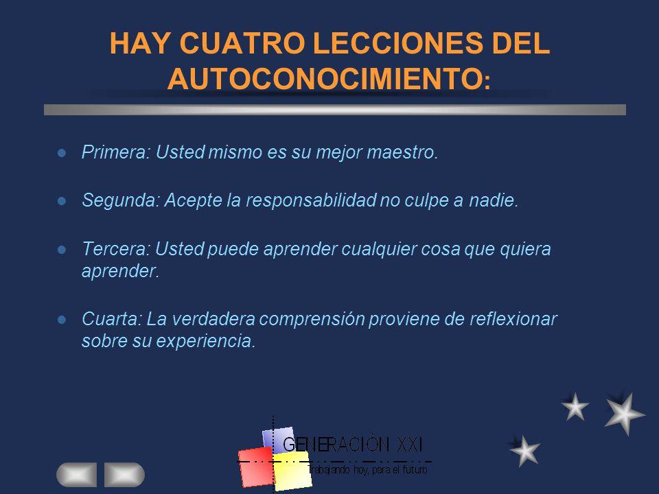 HAY CUATRO LECCIONES DEL AUTOCONOCIMIENTO: