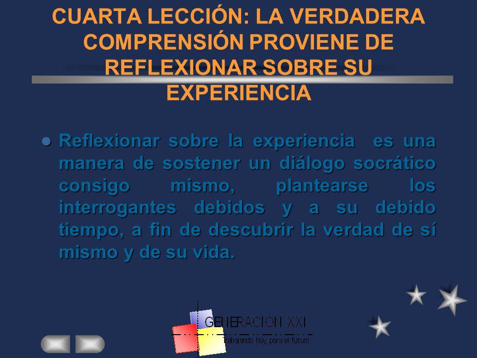 CUARTA LECCIÓN: LA VERDADERA COMPRENSIÓN PROVIENE DE REFLEXIONAR SOBRE SU EXPERIENCIA