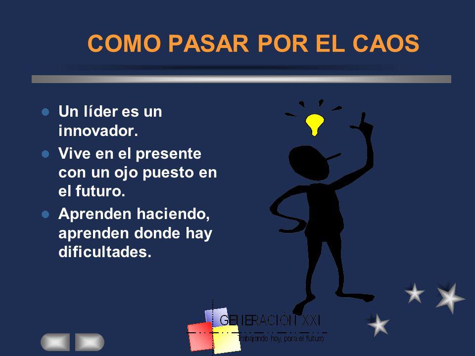 COMO PASAR POR EL CAOS Un líder es un innovador.