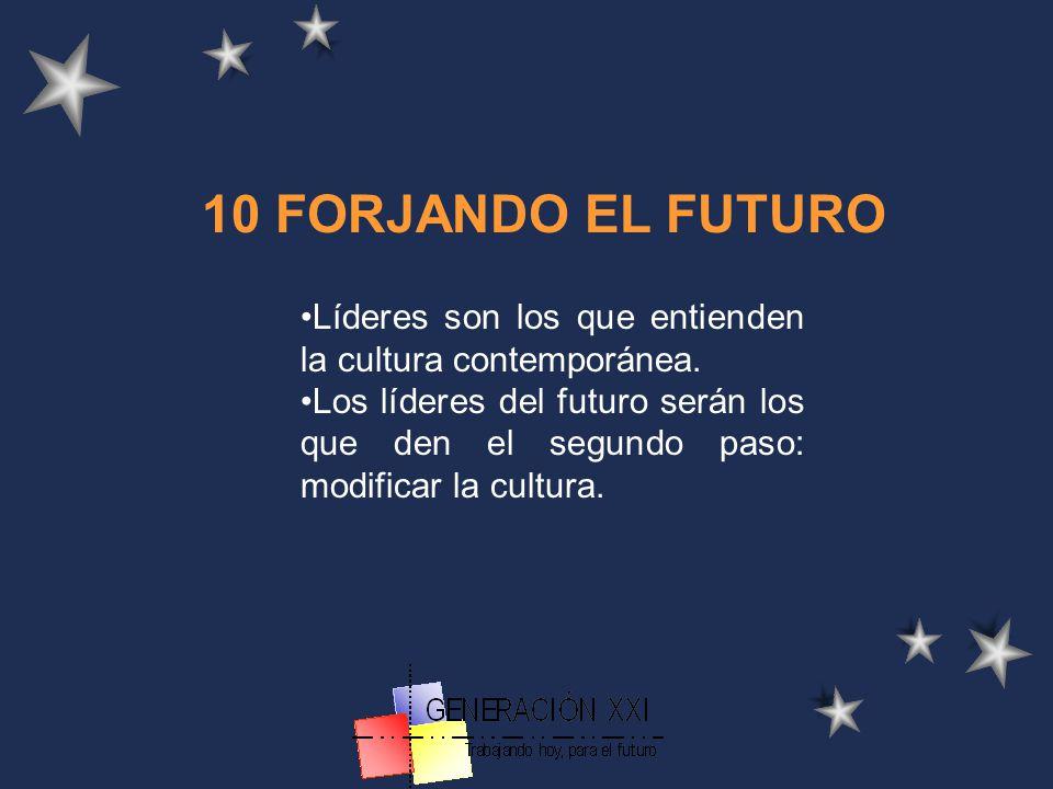 10 FORJANDO EL FUTURO Líderes son los que entienden la cultura contemporánea.