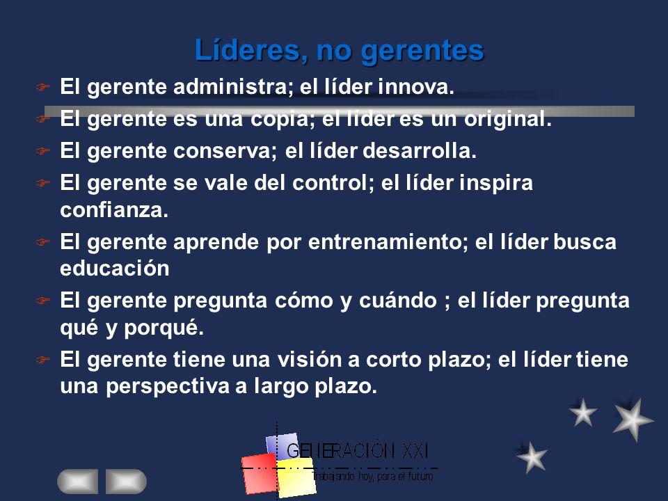 Líderes, no gerentes El gerente administra; el líder innova.