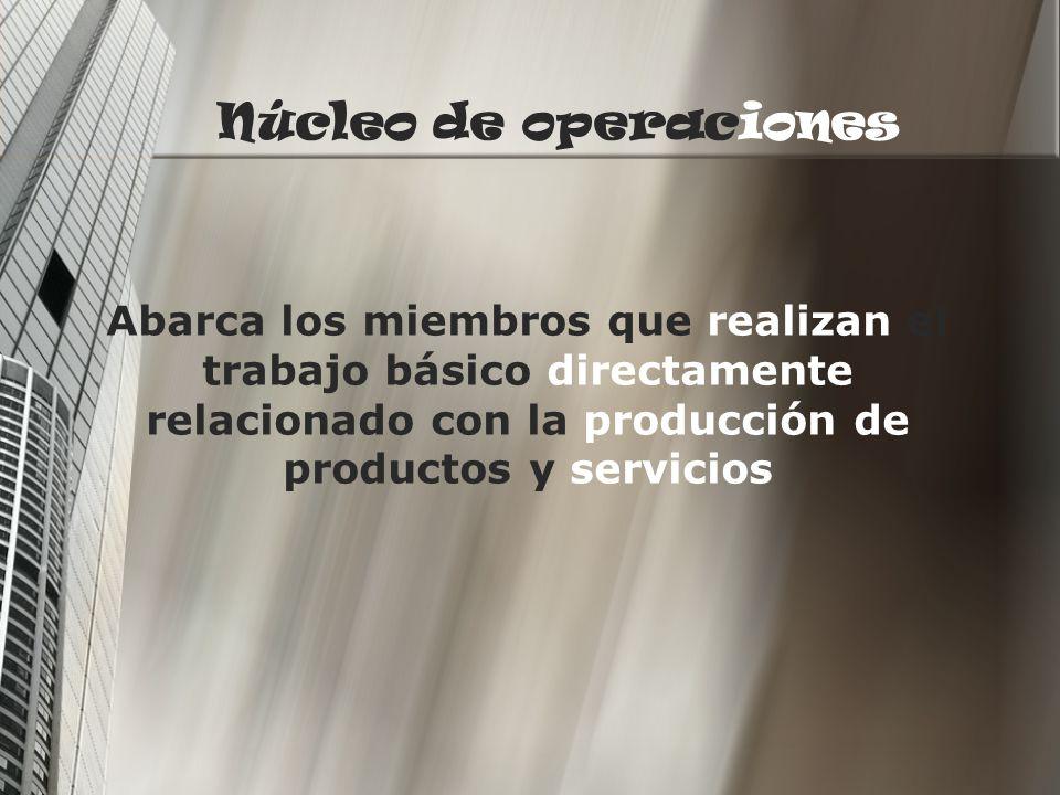 Núcleo de operaciones Abarca los miembros que realizan el trabajo básico directamente relacionado con la producción de productos y servicios.