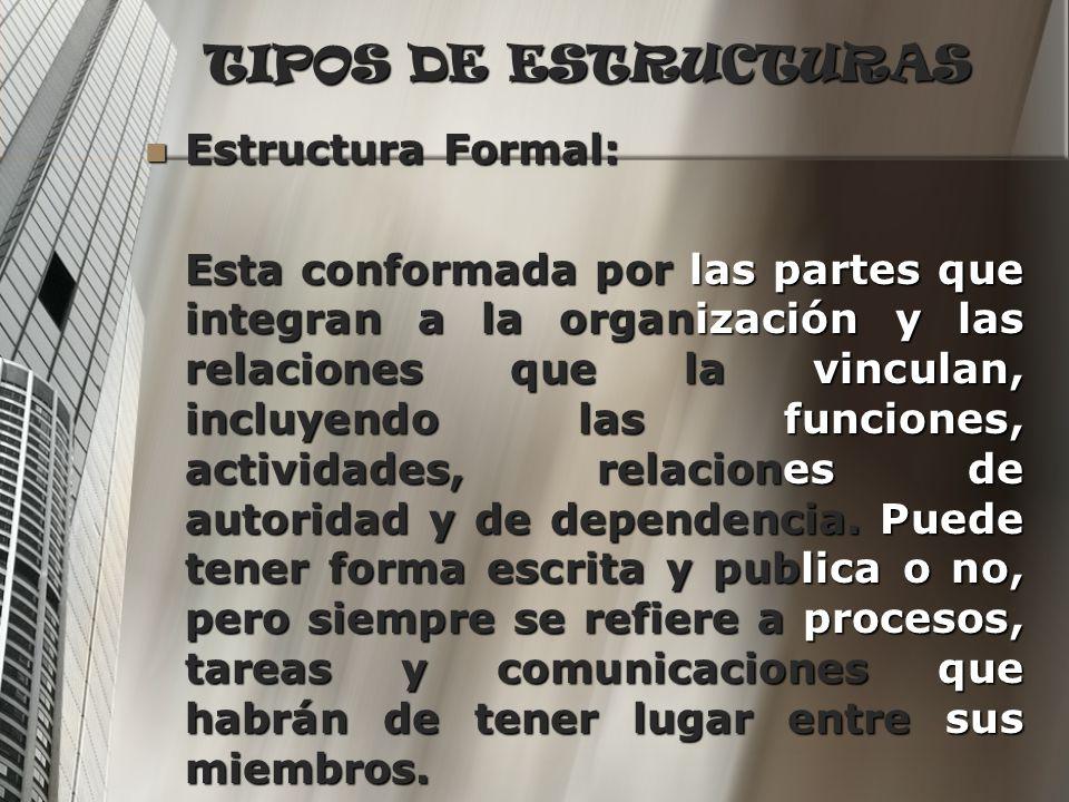 TIPOS DE ESTRUCTURAS Estructura Formal: