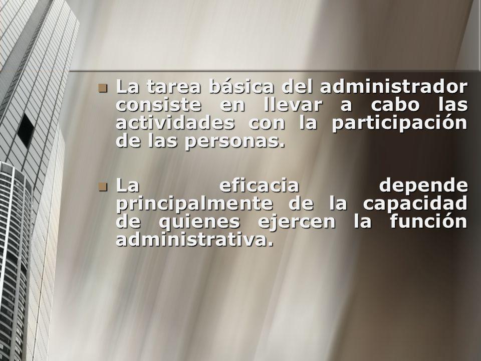 La tarea básica del administrador consiste en llevar a cabo las actividades con la participación de las personas.